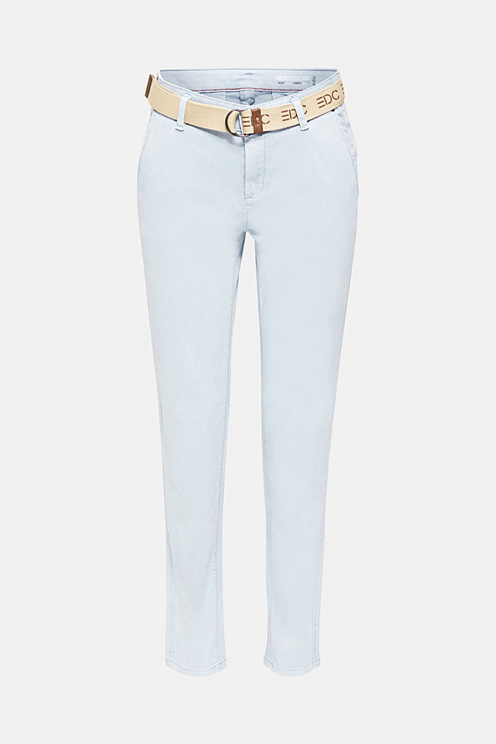Stretch chinos made of twill with a woven belt, PASTEL BLUE, detail image number 6