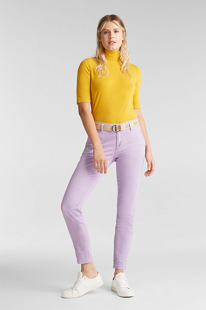 Stretch chinos made of twill with a woven belt, LILAC, detail image number 0