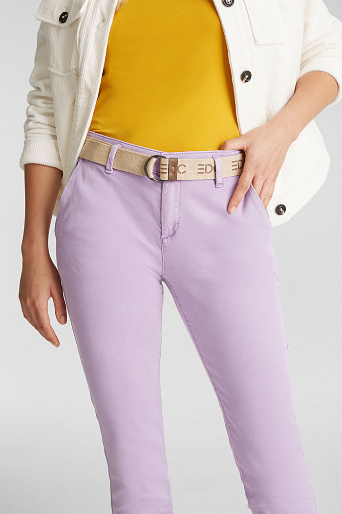 Stretch chinos made of twill with a woven belt, LILAC, detail image number 2