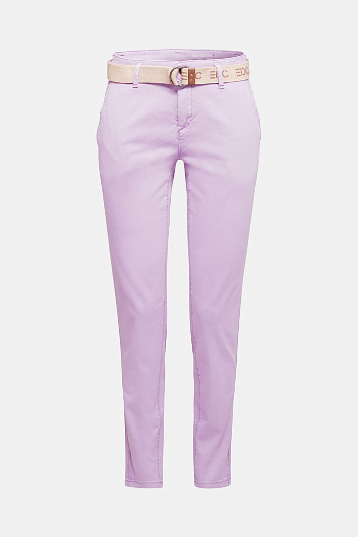 Stretch chinos made of twill with a woven belt, LILAC, detail image number 7