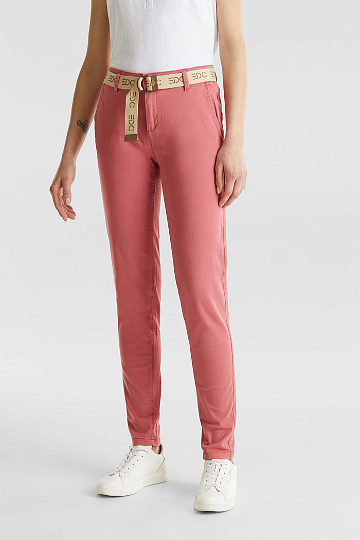 Stretch chinos made of twill with a woven belt, BLUSH, detail image number 0