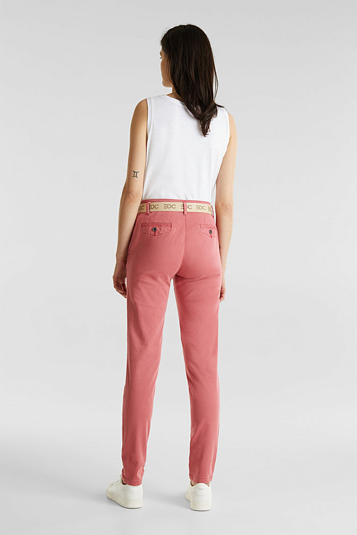 Stretch chinos made of twill with a woven belt, BLUSH, detail image number 3