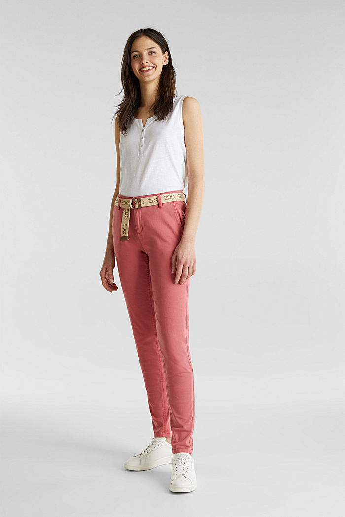 Stretch chinos made of twill with a woven belt, BLUSH, detail image number 6