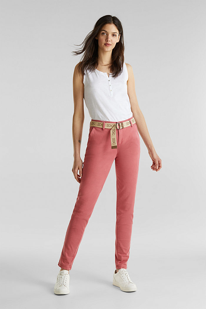 Stretch chinos made of twill with a woven belt, BLUSH, detail image number 1
