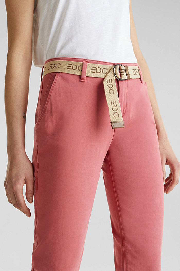 Stretch chinos made of twill with a woven belt, BLUSH, detail image number 2