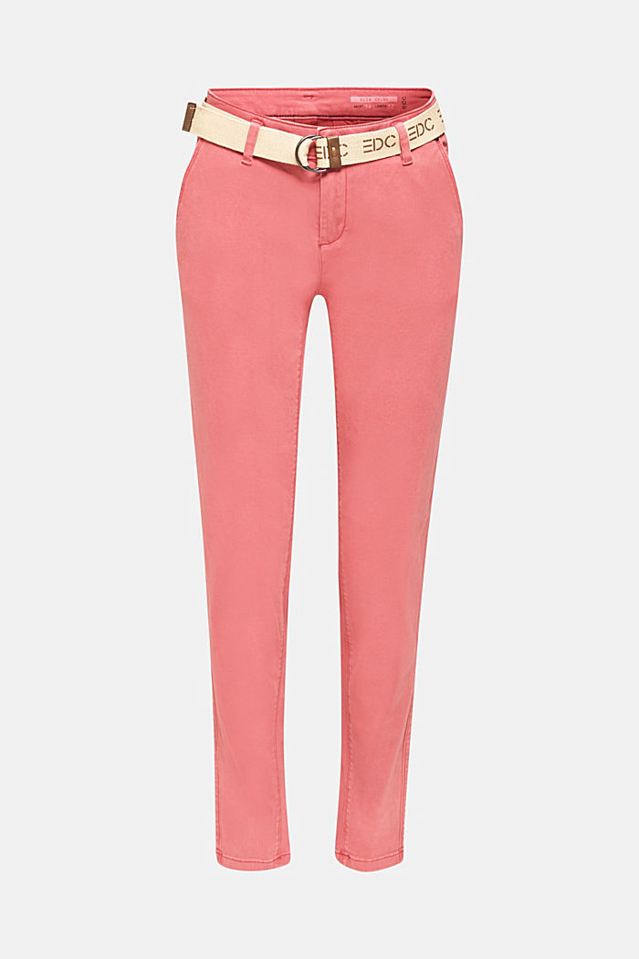 Stretch chinos made of twill with a woven belt, BLUSH, detail image number 7