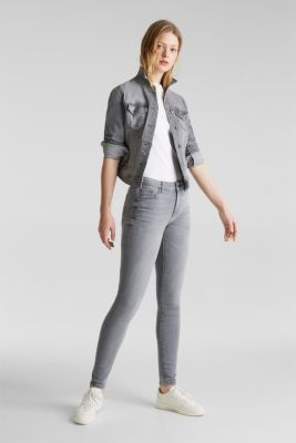 Grey jeans with a vintage finish, GREY LIGHT WASH, detail