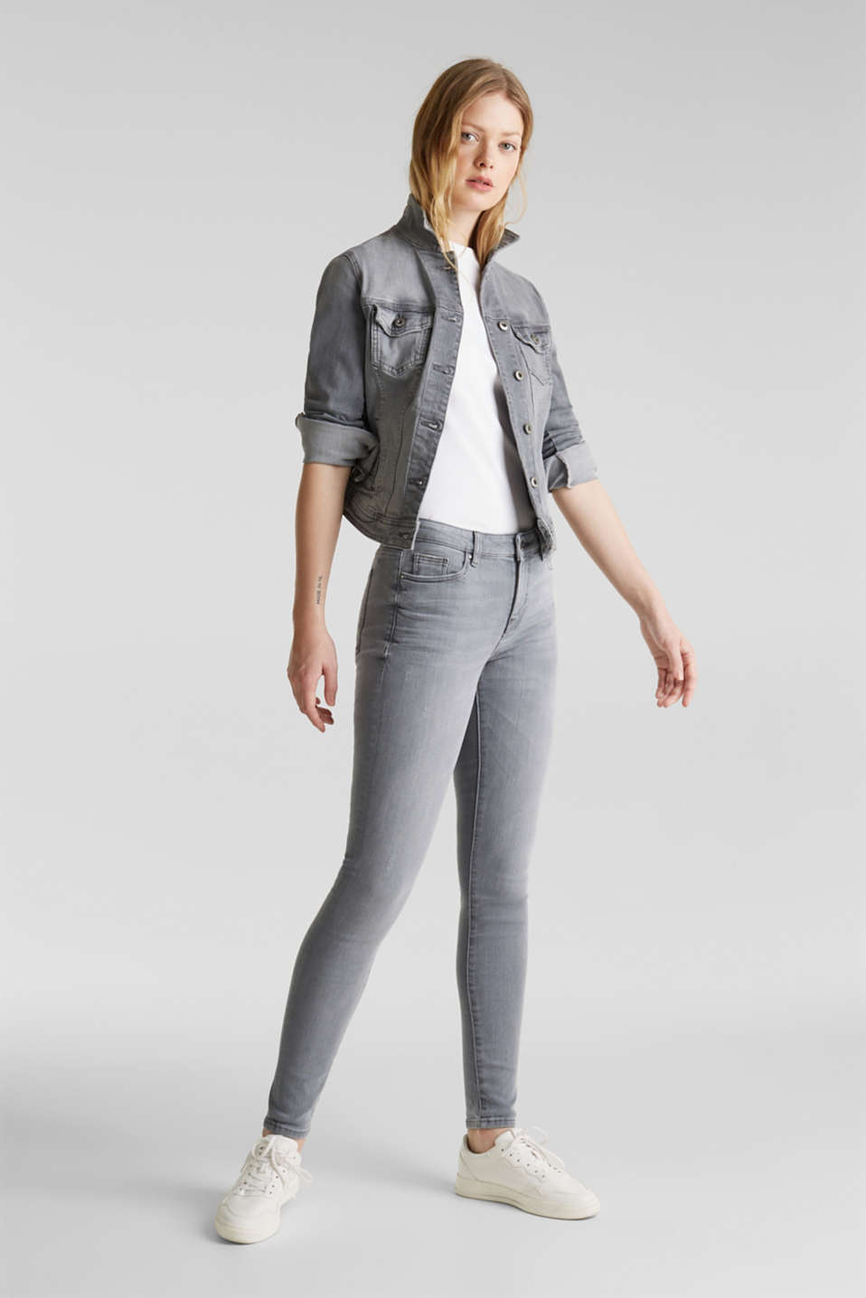 Grey jeans with a vintage finish, GREY LIGHT WASH, detail image number 1