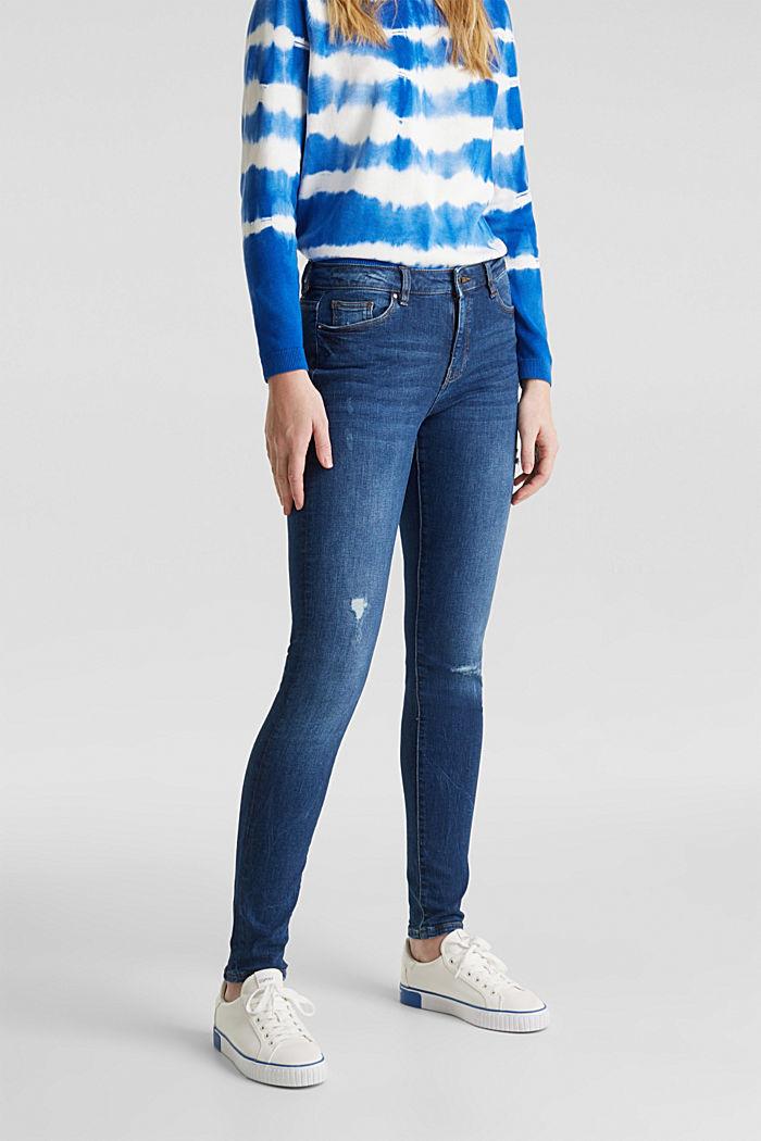 Jeans met destroyed look, BLUE MEDIUM WASHED, detail image number 0