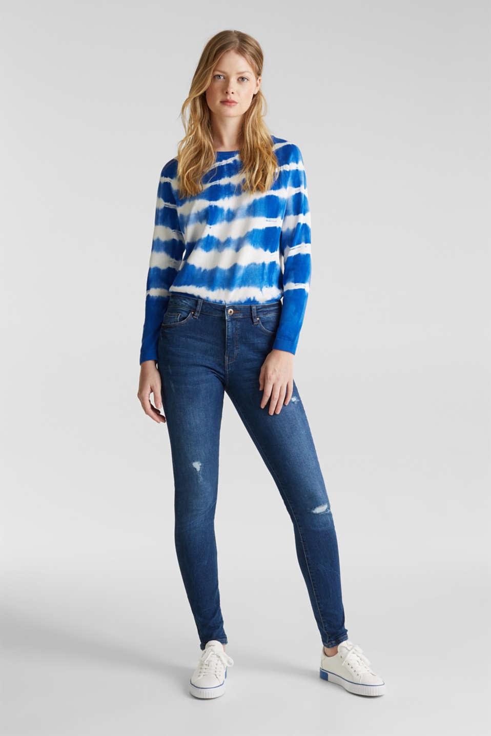 Distressed jeans, BLUE MEDIUM WASH, detail image number 1