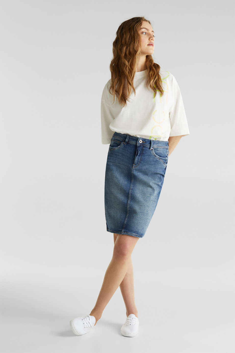 edc - Stretch denim pencil skirt