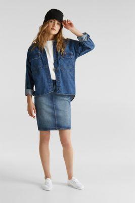 Stretch denim pencil skirt, BLUE DARK WASH, detail