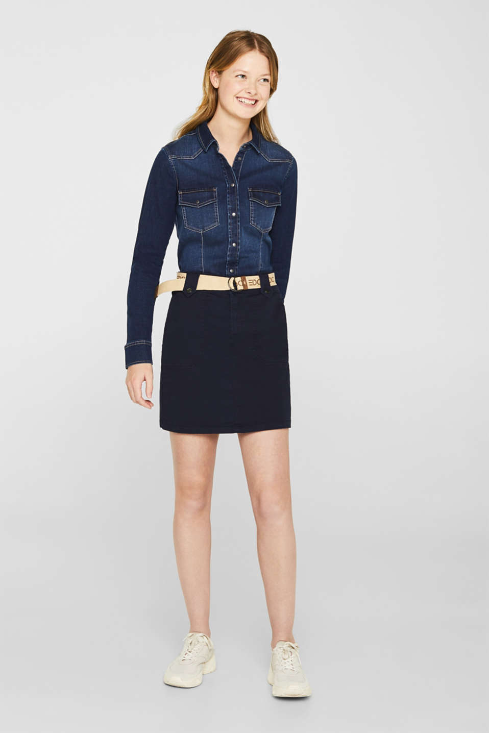 Stretch skirt made of twill with a woven belt, NAVY, detail image number 0