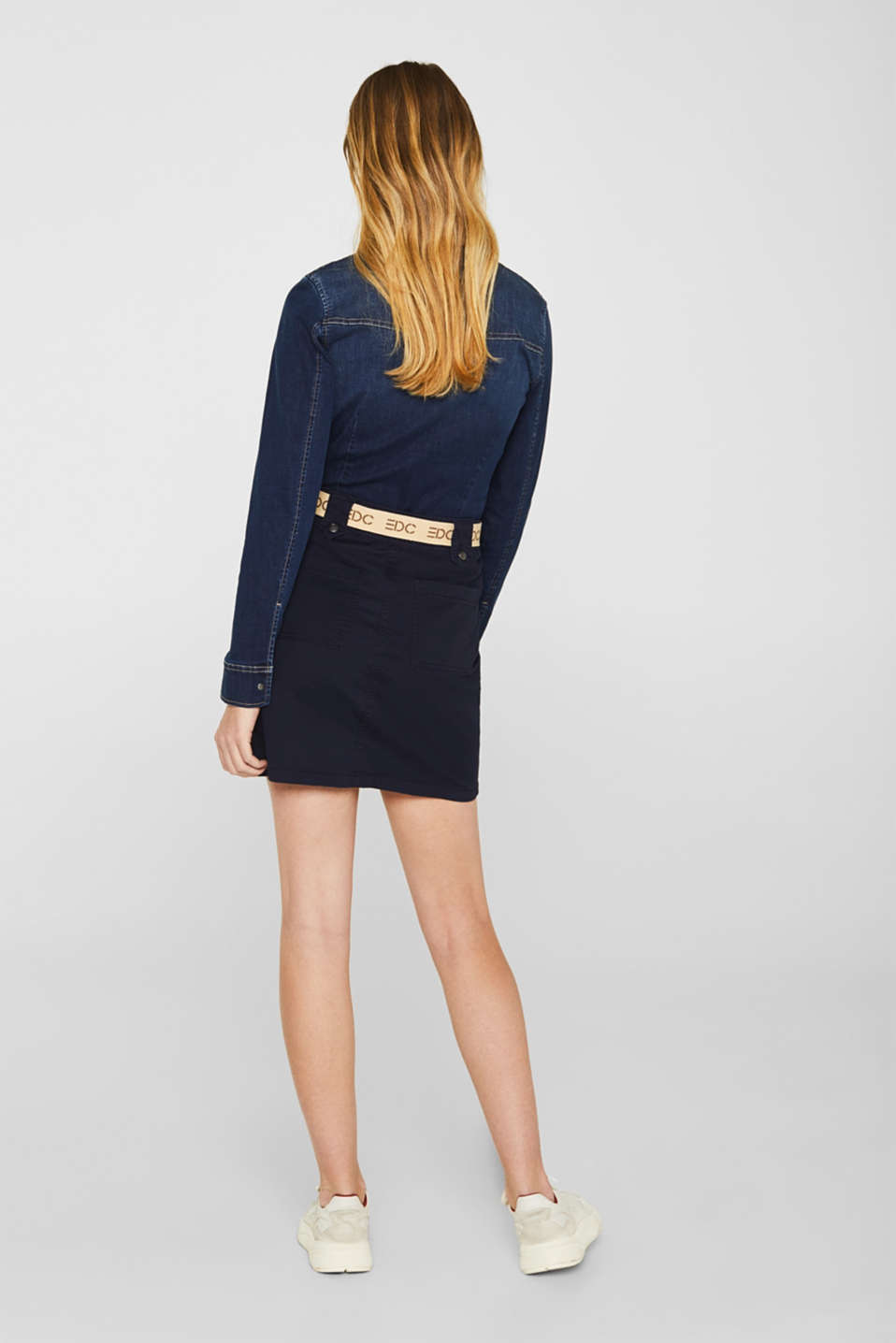 Stretch skirt made of twill with a woven belt, NAVY, detail image number 3