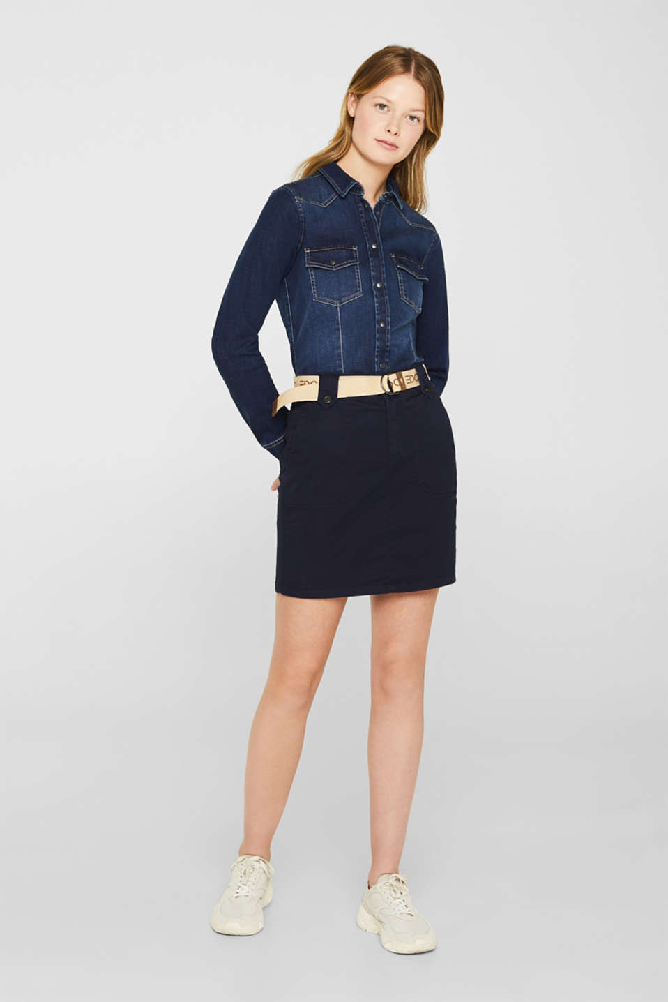 Stretch skirt made of twill with a woven belt, NAVY, detail image number 1