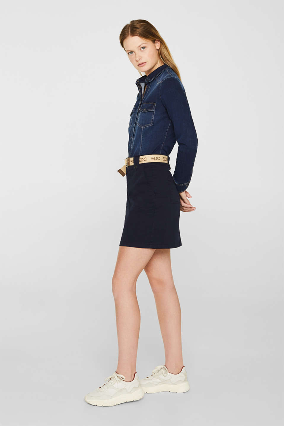 Stretch skirt made of twill with a woven belt, NAVY, detail image number 6
