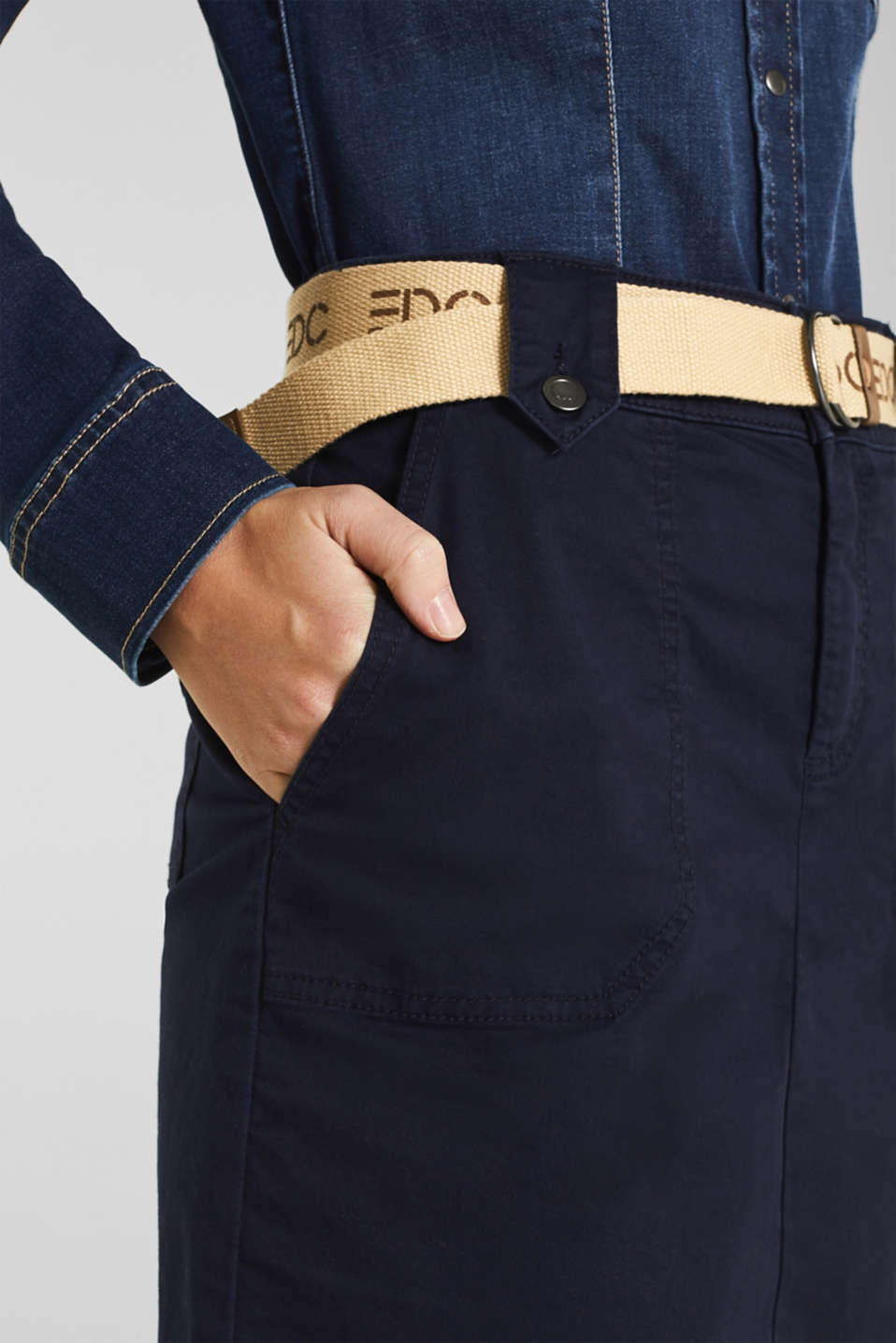 Stretch skirt made of twill with a woven belt, NAVY, detail image number 2