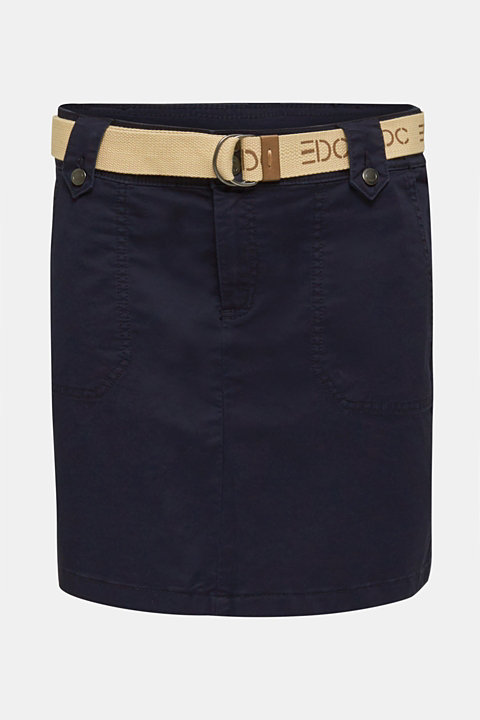 Stretch skirt made of twill with a woven belt