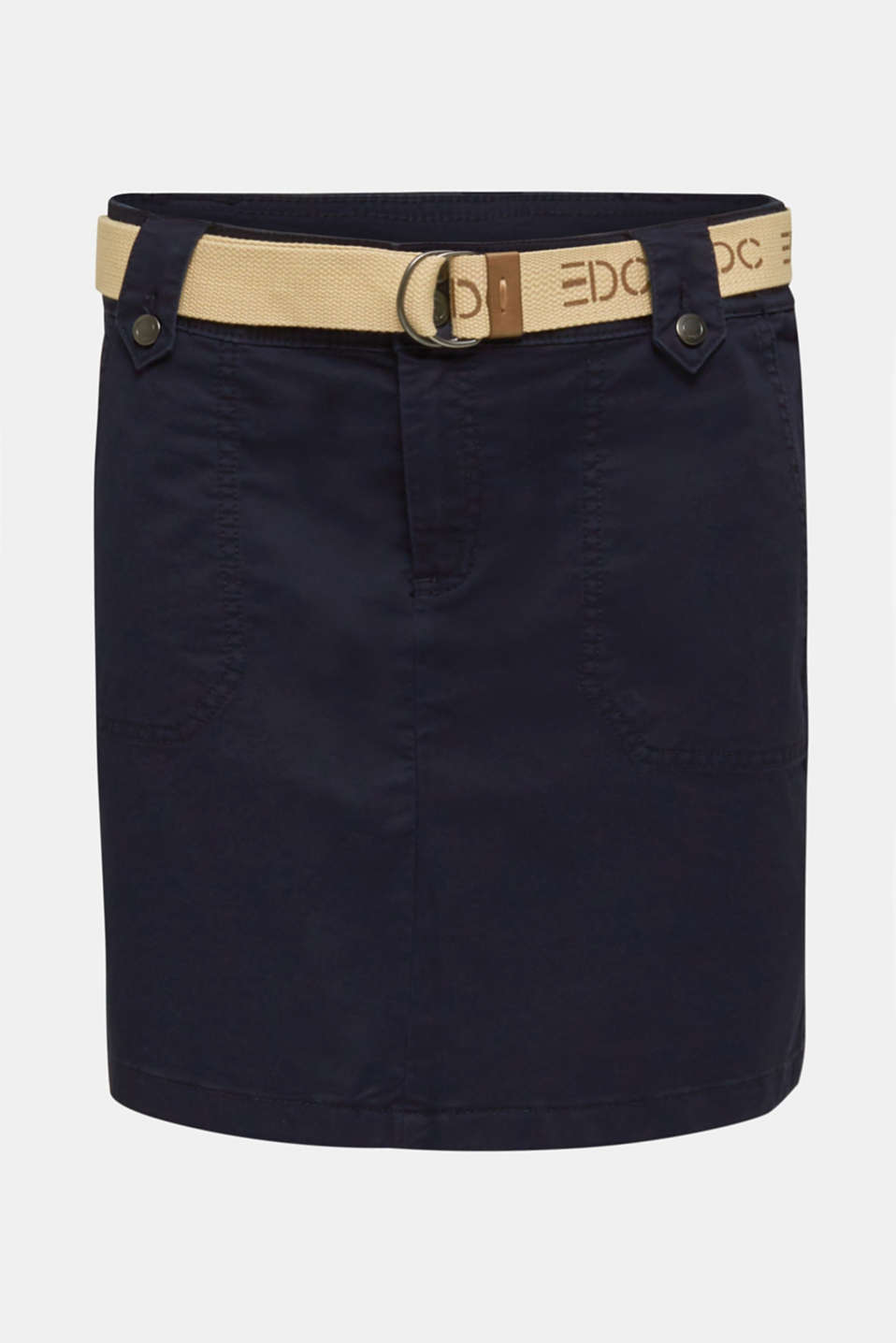 Stretch skirt made of twill with a woven belt, NAVY, detail image number 7