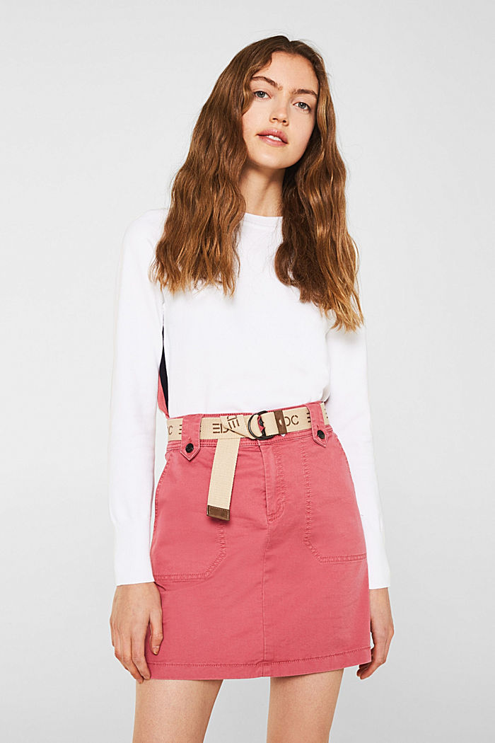 Stretch skirt made of twill with a woven belt, BLUSH, detail image number 0