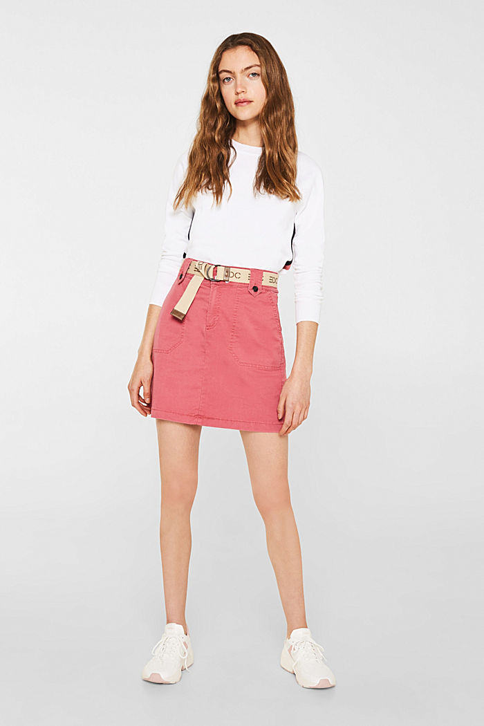 Stretch skirt made of twill with a woven belt, BLUSH, detail image number 1