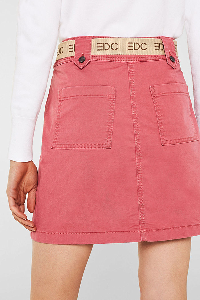Stretch skirt made of twill with a woven belt, BLUSH, detail image number 5