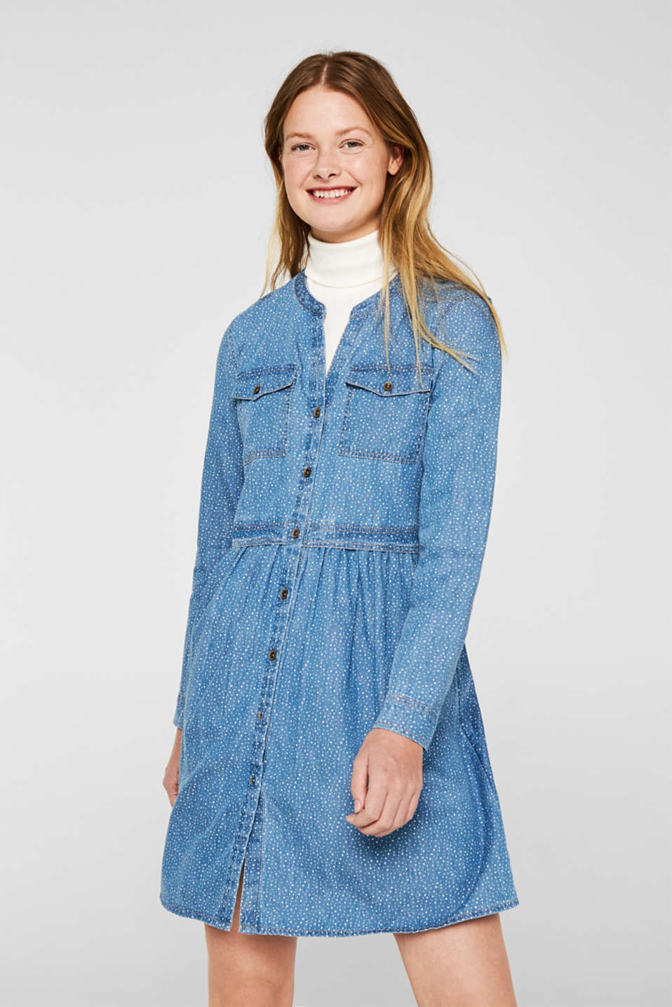 edc - Denim dress with print, 100% cotton