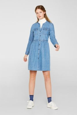 Denim dress with print, 100% cotton, BLUE LIGHT WASH, detail