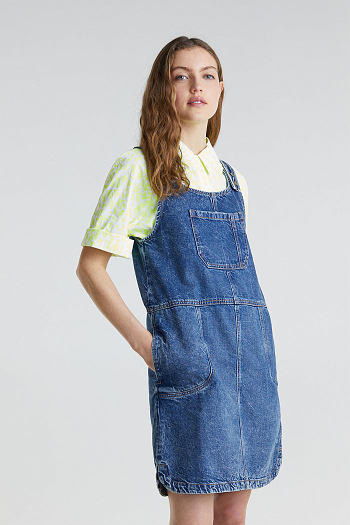 Denim pinafore, 100% cotton, BLUE MEDIUM WASHED, detail image number 0