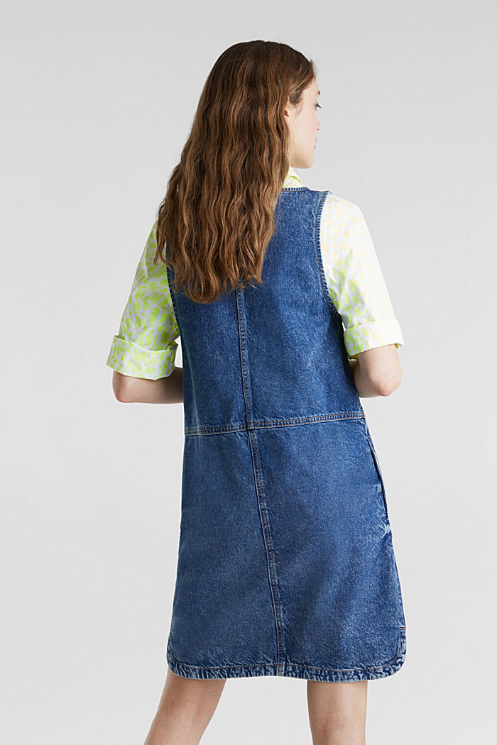 Denim pinafore, 100% cotton, BLUE MEDIUM WASHED, detail image number 2