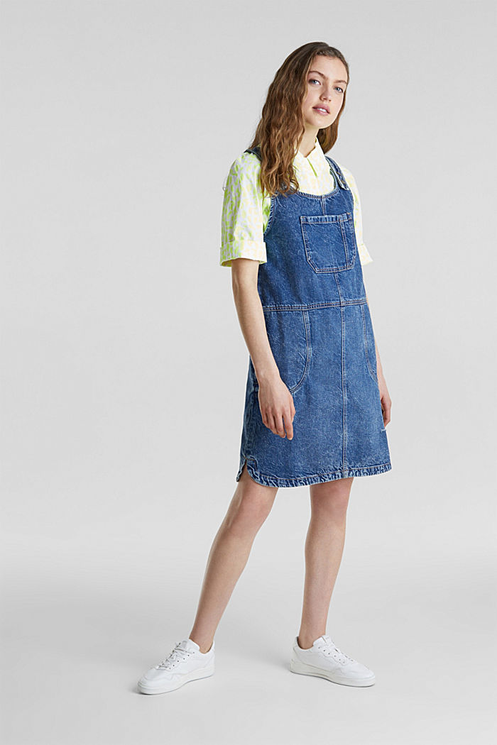 Denim pinafore, 100% cotton, BLUE MEDIUM WASHED, detail image number 4