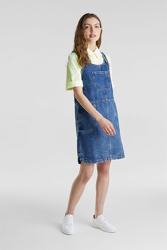 Denim pinafore, 100% cotton, BLUE MEDIUM WASHED, detail image number 1