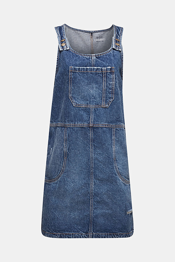 Denim pinafore, 100% cotton, BLUE MEDIUM WASHED, detail image number 6