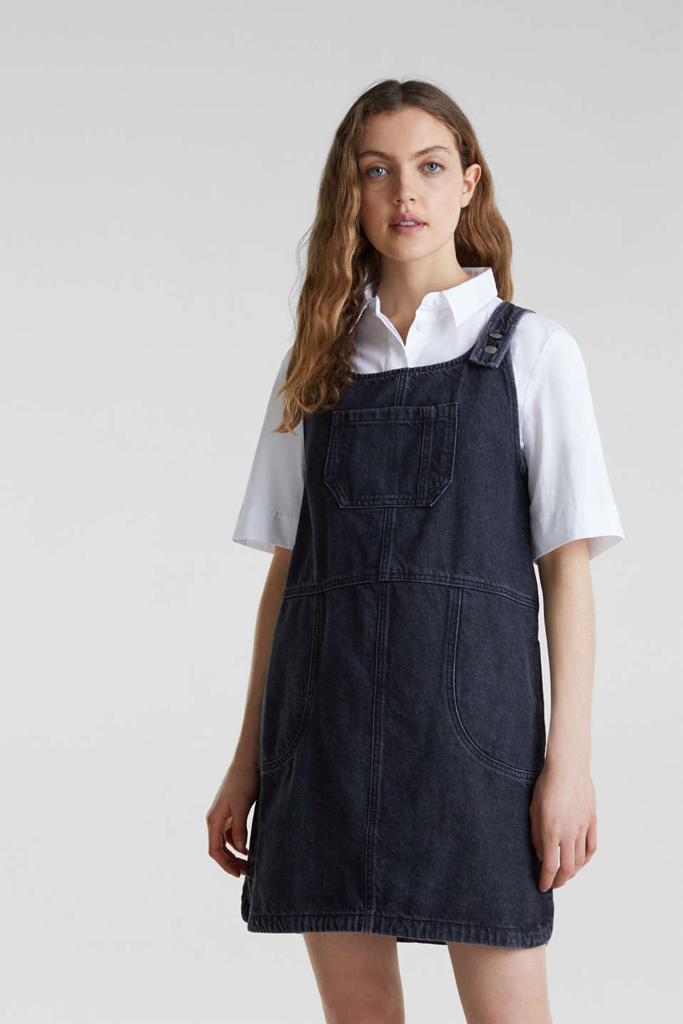 edc - Black denim pinafore, 100% cotton