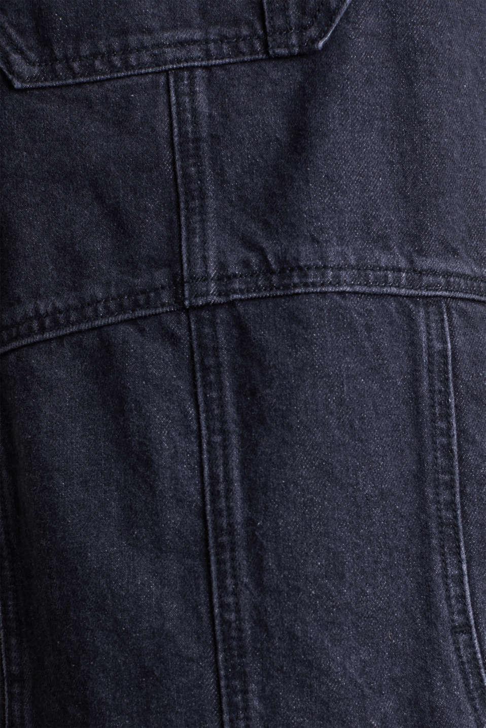 Black denim pinafore, 100% cotton, BLACK MEDIUM WASH, detail image number 3