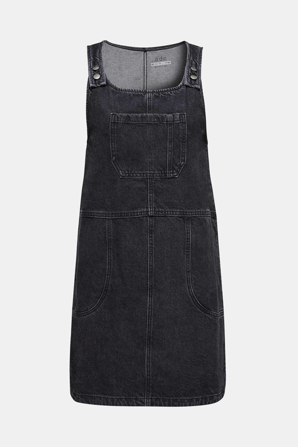Black denim pinafore, 100% cotton, BLACK MEDIUM WASH, detail image number 6
