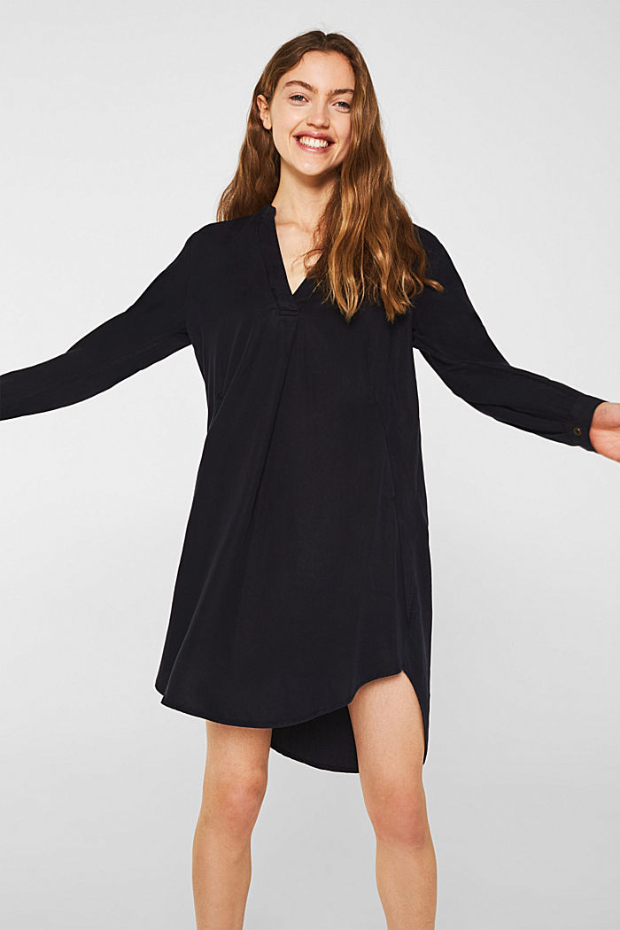 Lyocell dress with a Henley neckline
