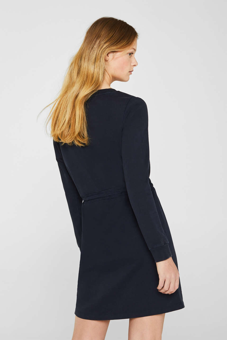 Sweatshirt dress with a drawstring, 100% cotton, NAVY, detail image number 2