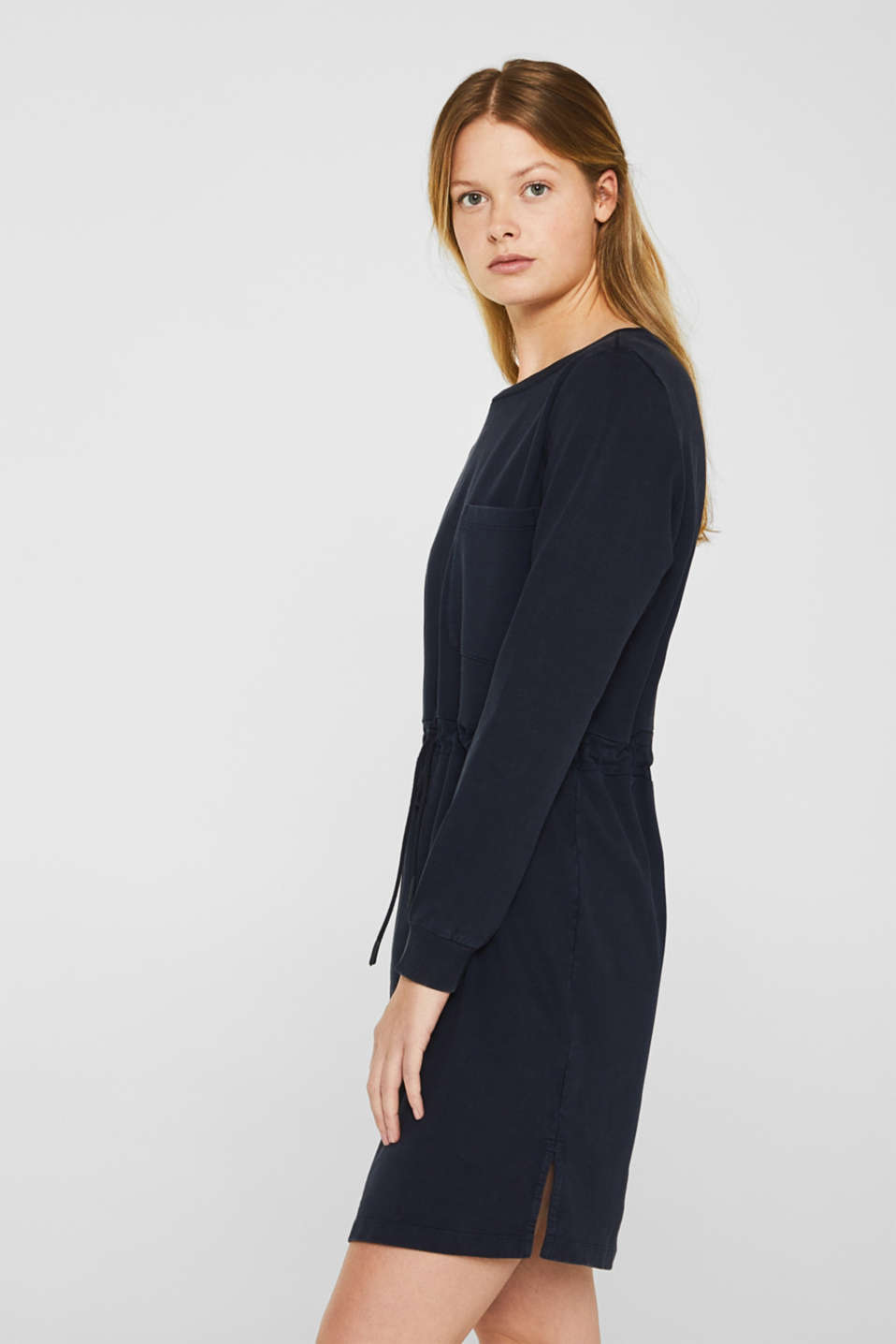 Sweatshirt dress with a drawstring, 100% cotton, NAVY, detail image number 4