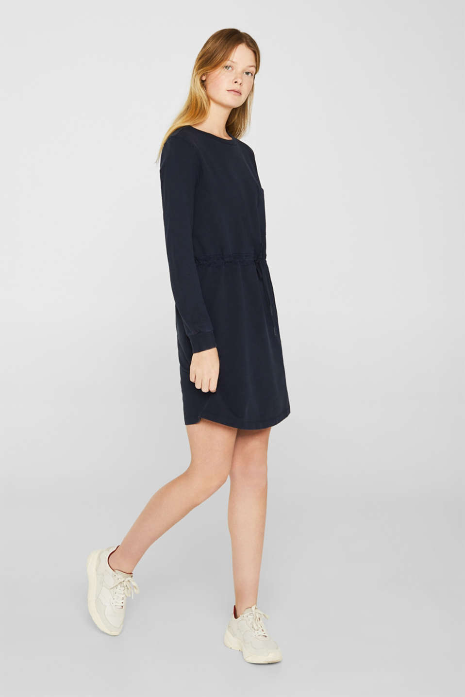Sweatshirt dress with a drawstring, 100% cotton, NAVY, detail image number 1
