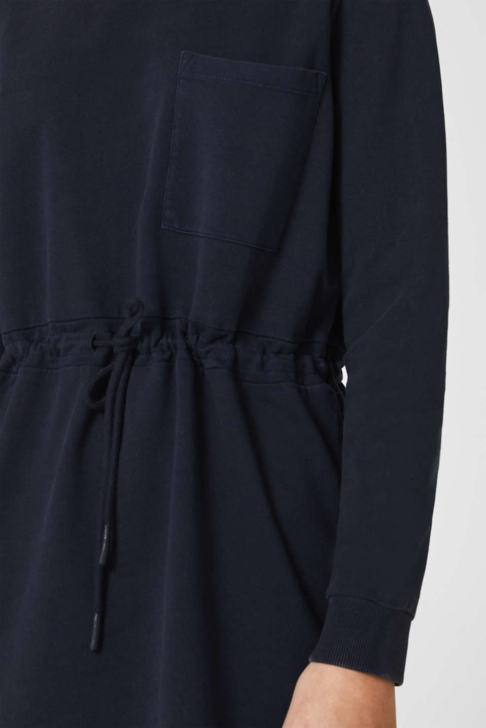 Sweatshirt dress with a drawstring, 100% cotton, NAVY, detail image number 3
