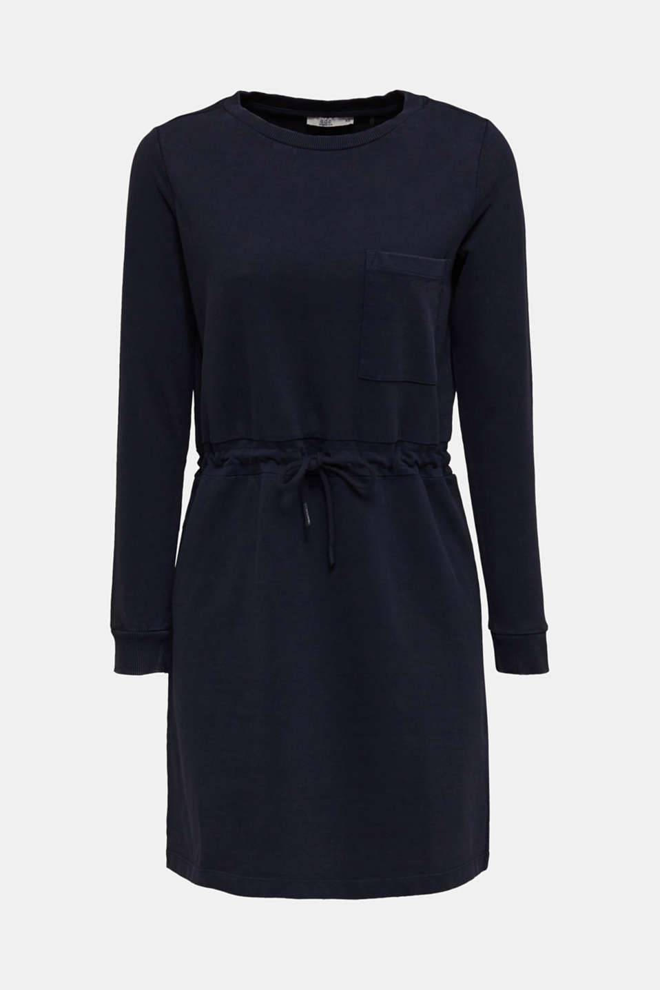 Sweatshirt dress with a drawstring, 100% cotton, NAVY, detail image number 6
