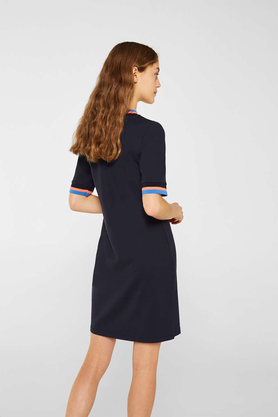 Stretch jersey dress with striped borders, NAVY, detail image number 2