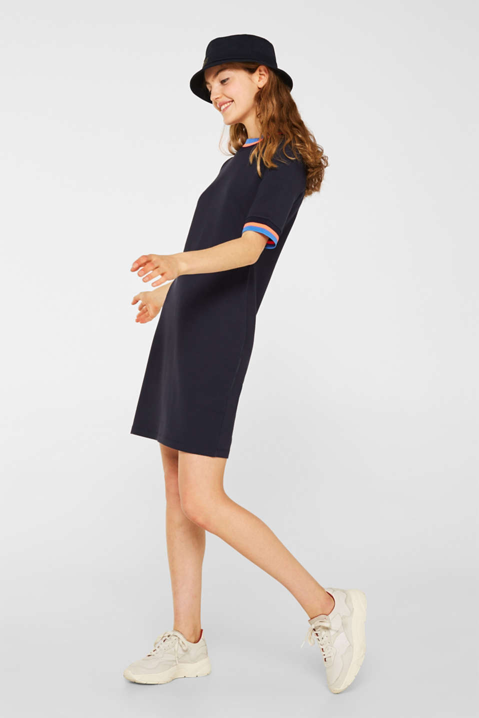 Stretch jersey dress with striped borders, NAVY, detail image number 1