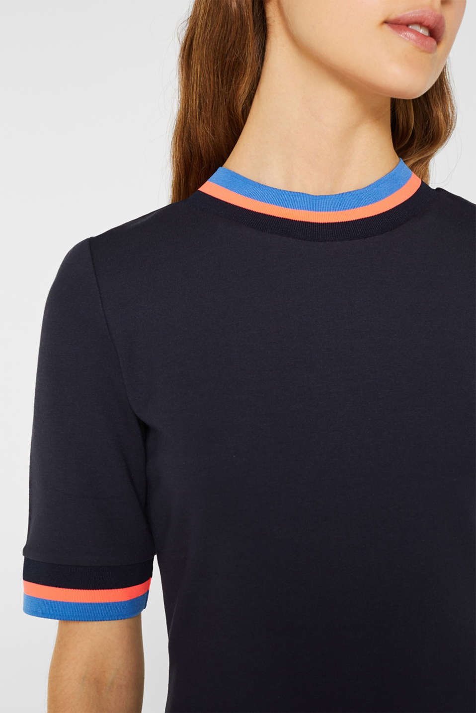 Stretch jersey dress with striped borders, NAVY, detail image number 3