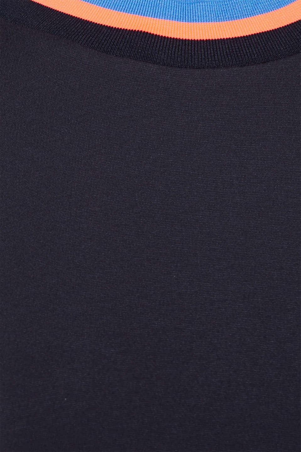 Stretch jersey dress with striped borders, NAVY, detail image number 4