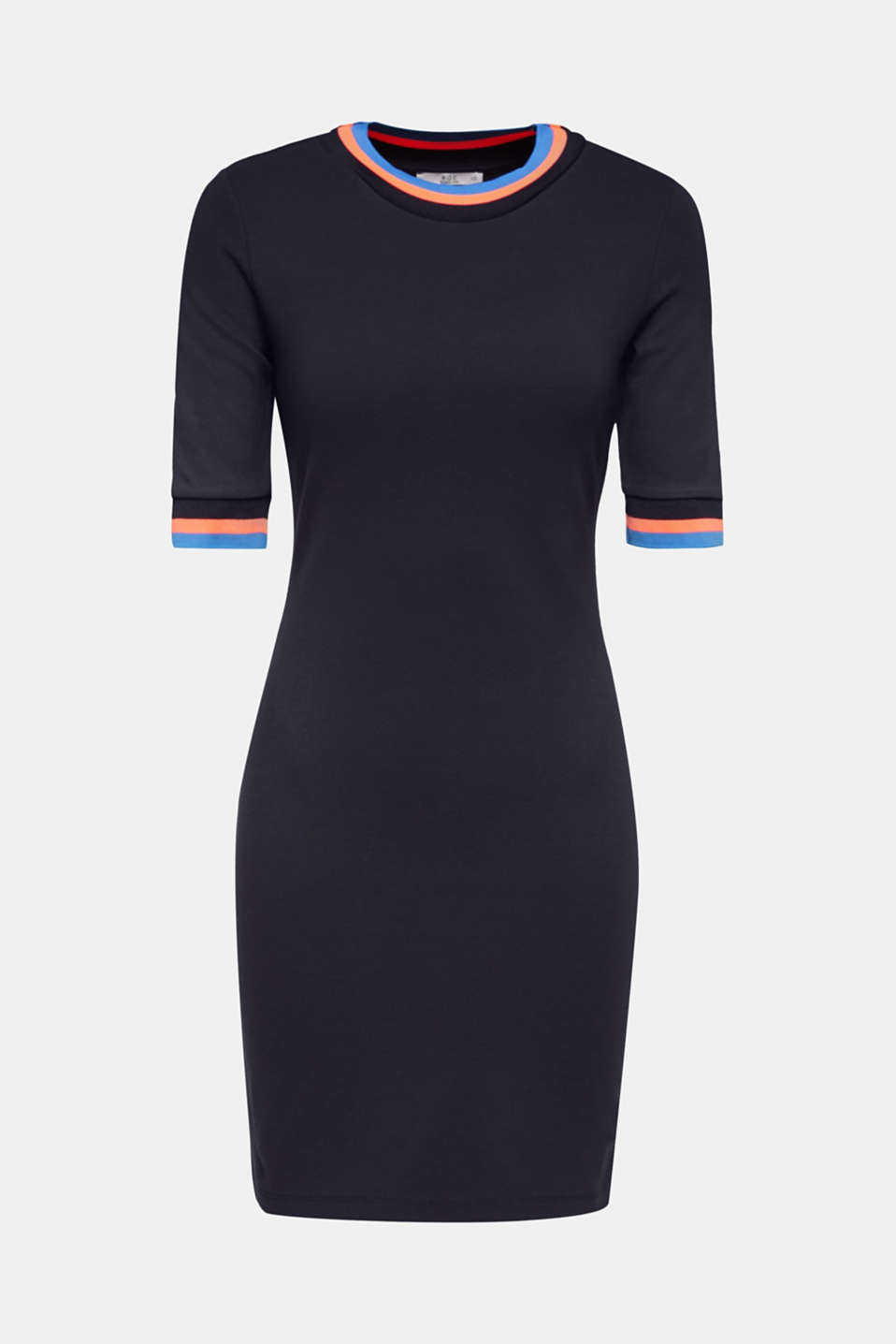 Stretch jersey dress with striped borders, NAVY, detail image number 6
