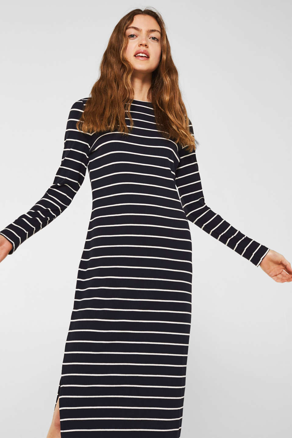 Stretch jersey dress with stripes and texture, NAVY, detail image number 0