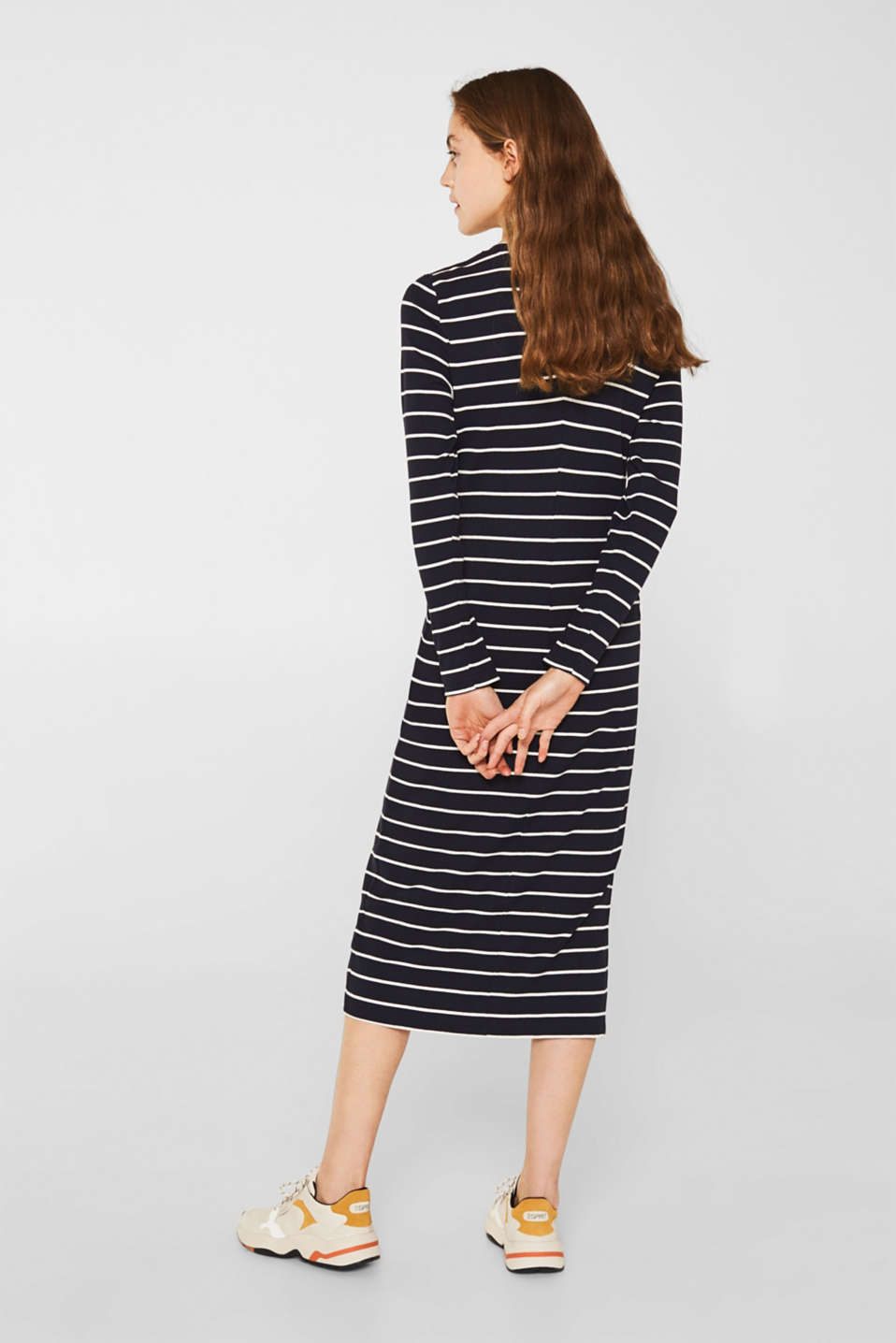 Stretch jersey dress with stripes and texture, NAVY, detail image number 2