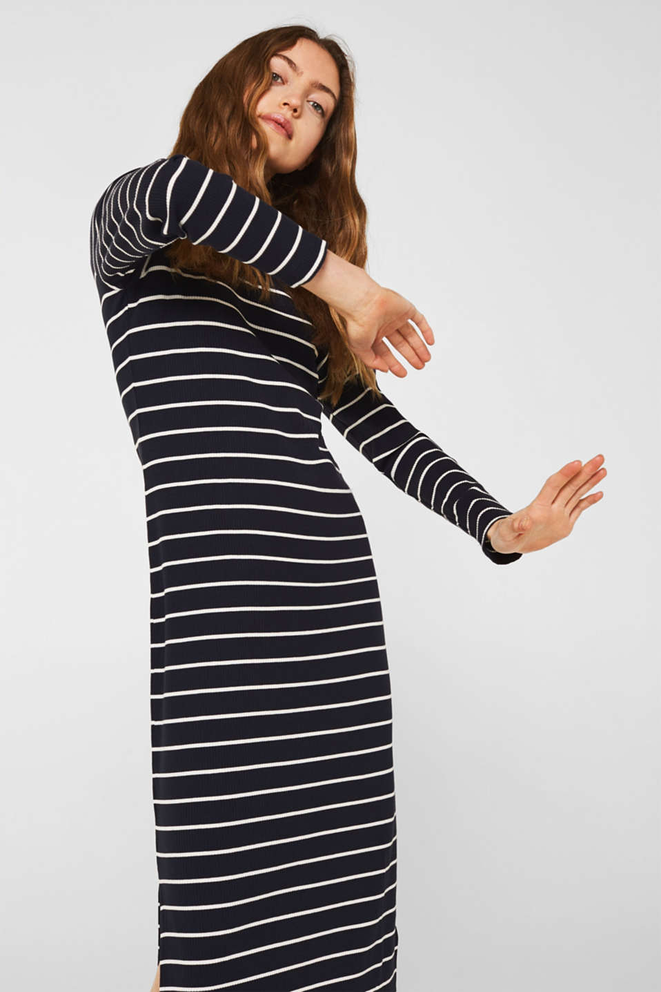 Stretch jersey dress with stripes and texture, NAVY, detail image number 5